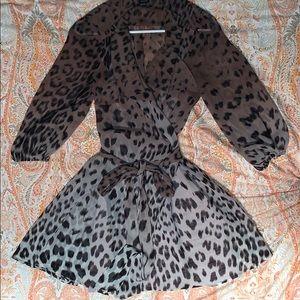 wrap Leopard Print Flowly See-trough Dress
